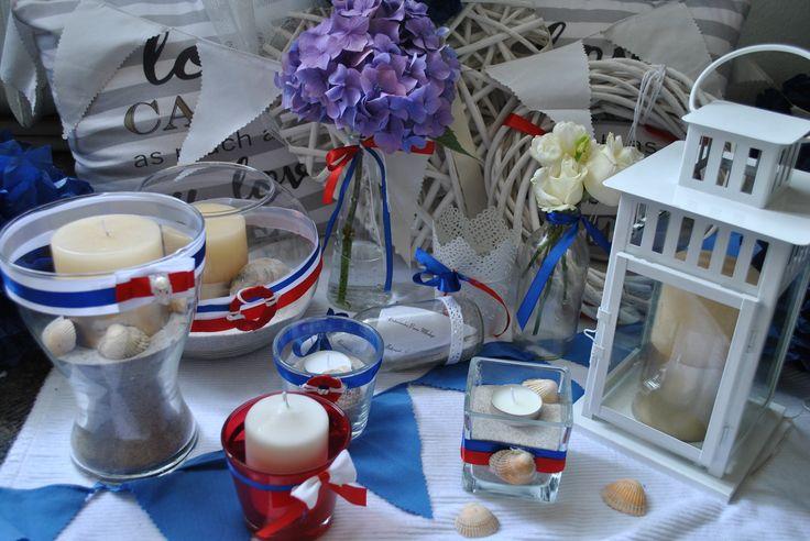 wedding decor naval blue white red marynarski ślub wesele dekoracje