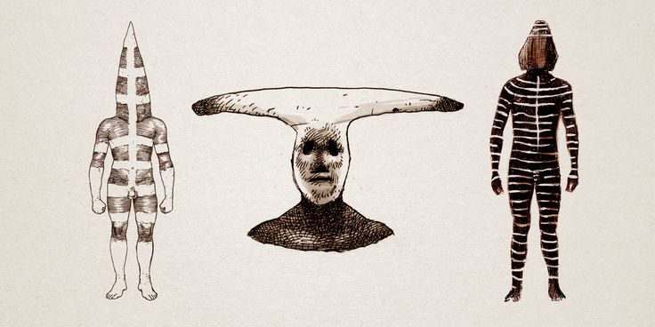 """Los Selk'nam u Onas habitaron la Tierra del Fuego hasta comienzos del siglo XX. Durante la ceremonia de iniciación, llamada """"Hain"""", los hombres se disfrazaban para representar los mitos y leyendas de su cultura. Martín Gusinde registró la ceremonia, dejando un riguroso testimonio fotográfico y escrito que nos permite hoy reproducir su impresionante visualidad. Ilustraciones realizadas para kaikai. Acuarela y tinta sobre papel."""