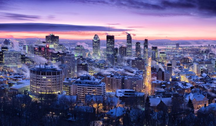 Wallpapers Canada Houses Winter Sky Megapolis Night Montreal ...
