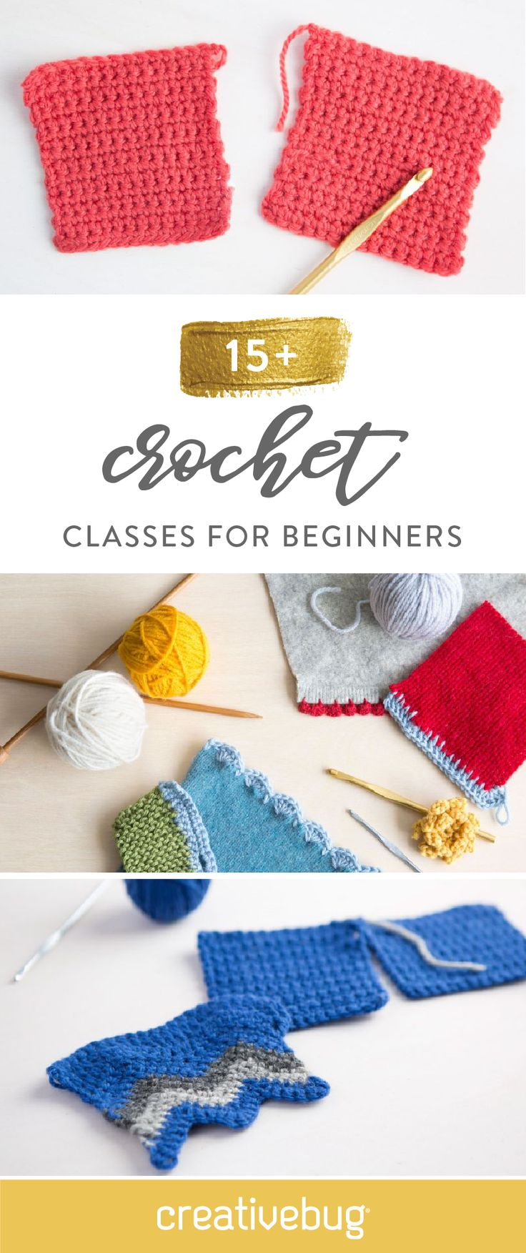 It's time to put those crochet needles to good use! This collection of 15+ crochet classes for beginners from Creativebug can help you learn how to make handmade items like rugs, blankets, and even pom poms!
