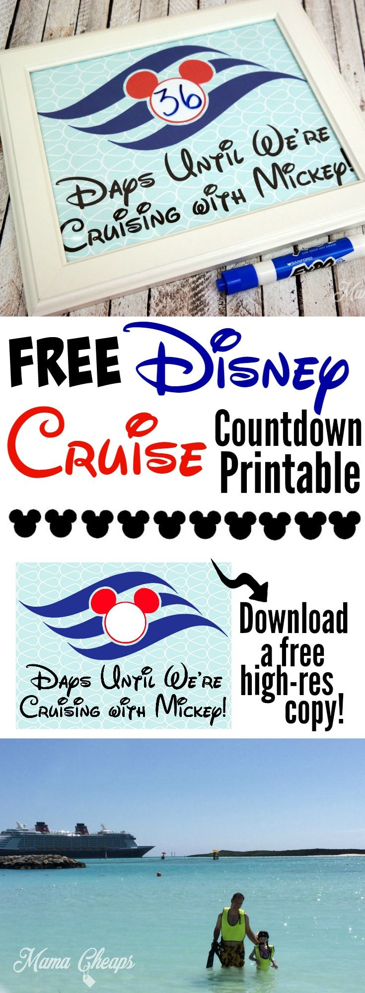 Disney Cruise Vacation Countdown FREE Printable! Find more great Disney tips and tricks on MamaCheaps.com/category/disney!
