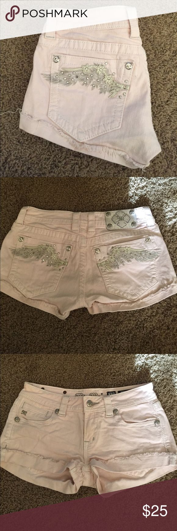 Miss me shorts Light pink miss me shorts jeweled wings embellished pockets. Missing one jem. Gently used Miss Me Shorts Jean Shorts