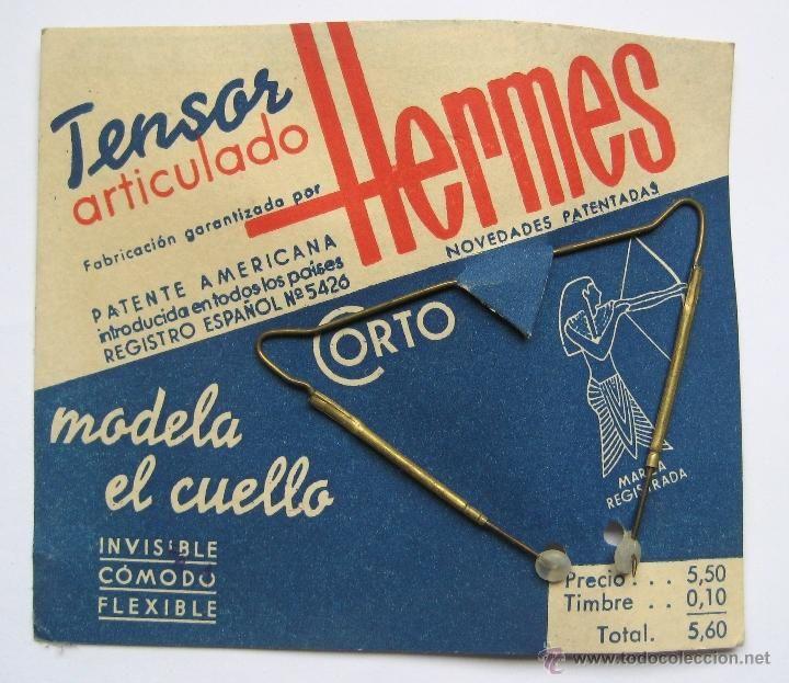 BLISTER TENSOR ARTICULADO PARA LA CORBATA HERMES 5,50 PESETAS MODELO AÑOS 50 MODA VINTAGE HOMBRE (Vintage - Moda - Complementos)