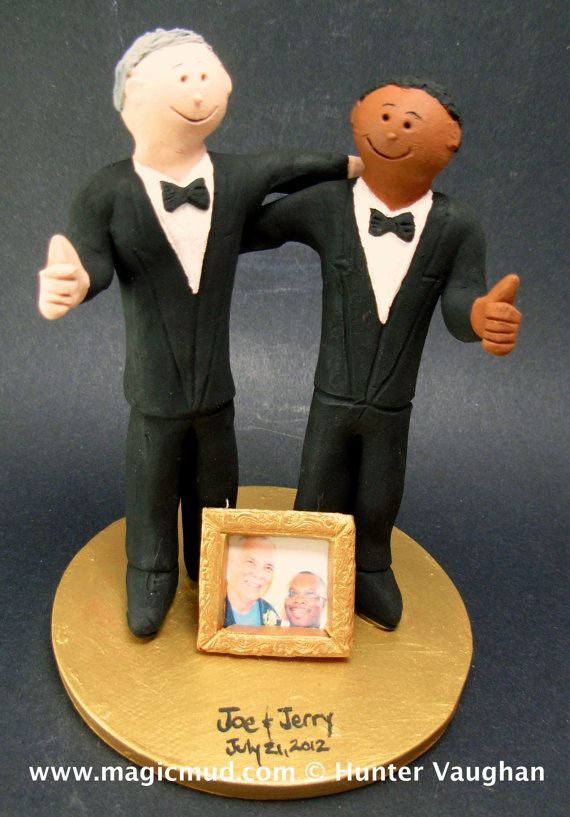 Same Sex Wedding Cake Topper    Gay Men's Wedding Cake Topper custom created for you!     $235   #magicmud   1 800 231 9814   www.magicmud.com