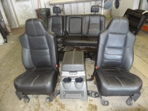 99 10 Ford F250 F350 Super Duty Black Leather Front Rear