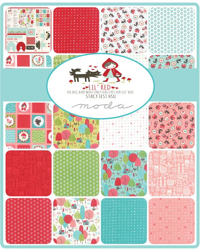 Description: Designed by Stacy Iest Hsu for Moda this hand cut half Yard bundle contains 19 - 18 x 44 inch pieces from the collection Lil Red. 1 yard Doll Panel NOT included Designer: Stacy Iest Hsu L