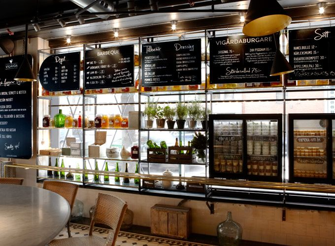 Signs for fast food restaurant Vigårda in Stockholm. Design by Lobby Design.