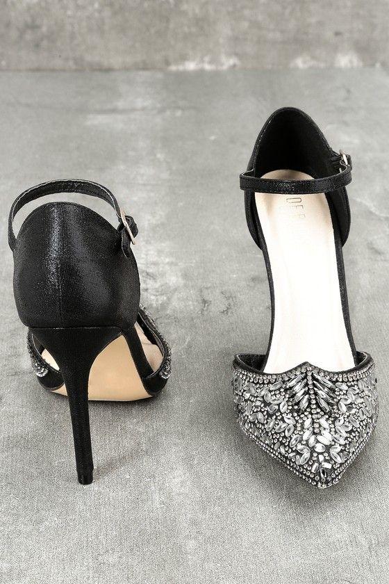 19212e846f6 Adeline Black Rhinestone Ankle Strap Heels
