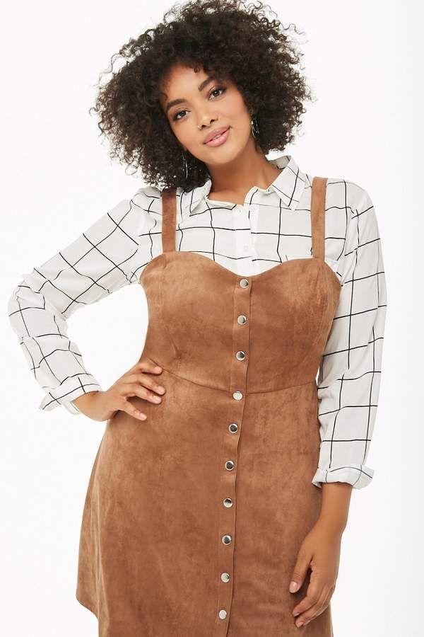 3632054f047 Plus Size Faux Suede Mini Dress  plussize  curvy  ad  fashion ...