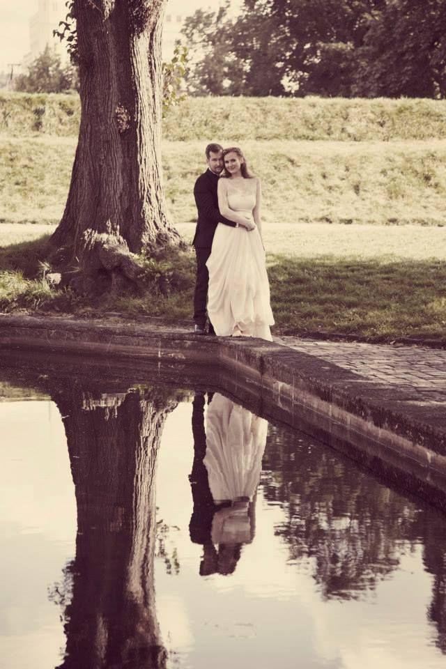 Romantic Wedding Dress, Sheer Lace Wedding Dress, Beautiful Lace, Long Sleeves Wedding Dress, Wedding Dress with Draped Skirt, Dress by Ellen Aga, Photo by Anniken Slette Hannevik
