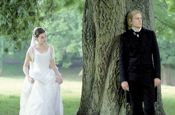 "Anne Hathaway as Madeline Bray and Charlie Hunnam as the title character in ""Nicholas Nickleby"" (2002)"