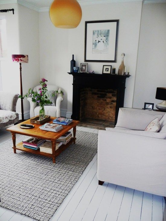 Lounge room makeover. See blog for details. London Victorian terrace house. White painted floor boards.