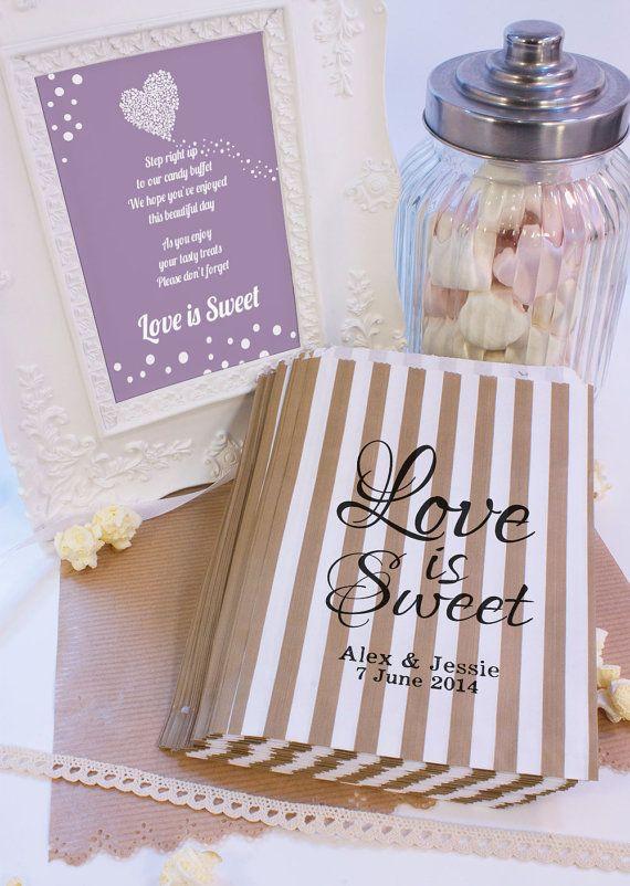 Personalised Sweet Bags LOVE IS SWEET wedding by MadeByMikaLtd