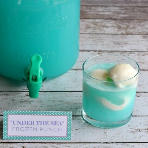 """Under the Sea"" Blue Raspberry Lemonade Sherbet Party Punch Recipe"