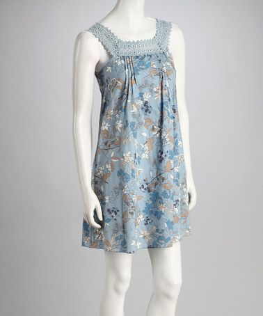 Take a look at this Blue Butterfly Garden Crochet Yoke Dress by Aryeh on #zulily today!