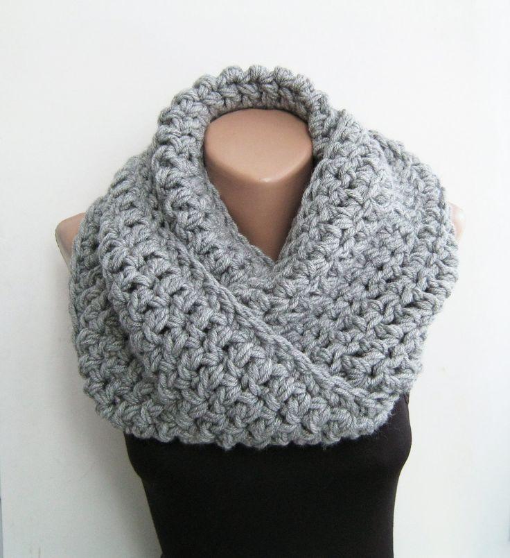 Gray chunky scarf, crochet infinity scarf,gray,teal,purple ...