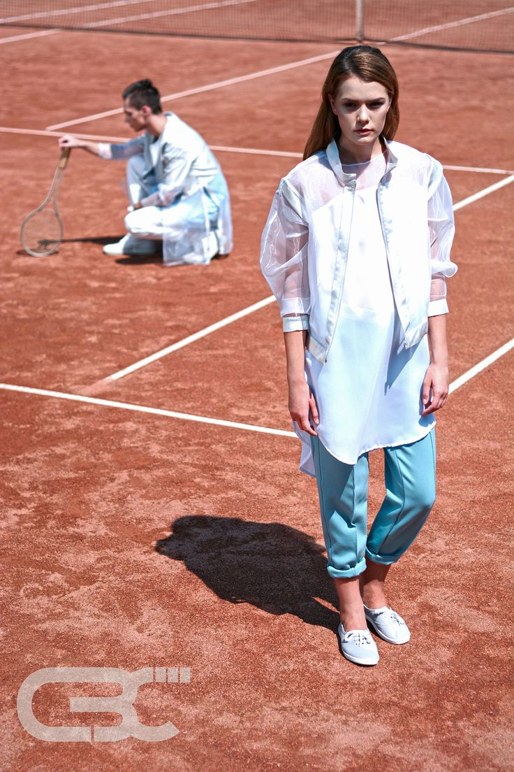 Tennis court, sportswear, fitness, sport luxe, unisex, campaign photos, trends, sheer jacket, white blouse, teal pants. Order via facebook, pm or e-mail.