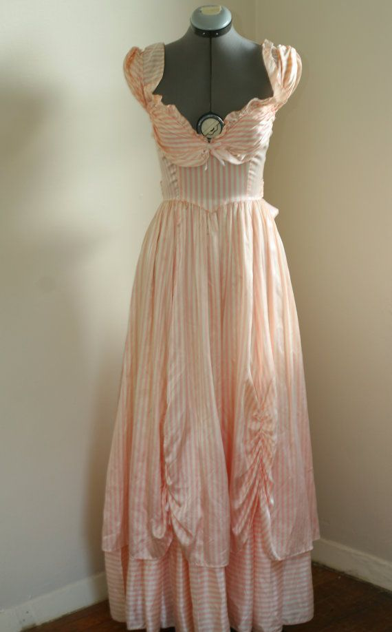 Gunne Sax by Jessica McClintock Pink and White by SaddleVintage, $100.00