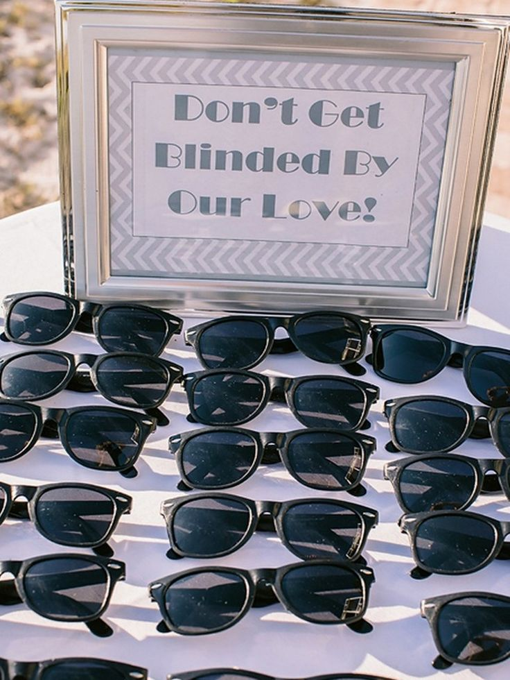 "Costa Rica Wedding Ideas - Wedding Favors -  Wedding favors signage - ""Don't get blinded by out love"" Sunglasses."