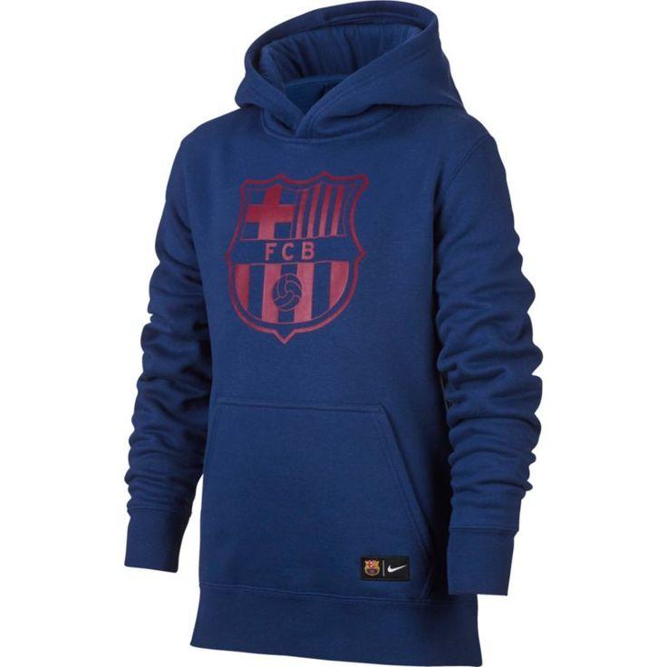 Nike Youth FC Barcelona Logo Navy Hoodie, Size: Medium, Multi