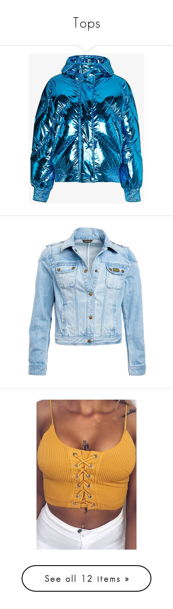 """""""Tops"""" by diamonddolll ❤ liked on Polyvore featuring outerwear, jackets, blue, blue jackets, metallic puffer jacket, puffer jacket, cropped jacket, blue puffer jacket, denim sports jacket and fitted denim jacket"""