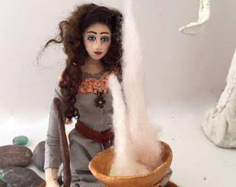 Art Doll OOAK handmade cloth fantasy creation The Magic Circle -    from conchygemdolls on Etsy
