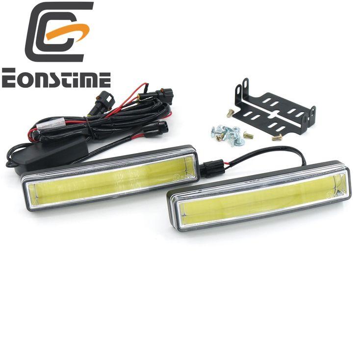 Eonstime 2 шт. 15 см COB LED Автомобилей Дневного Света DRL Установка Кронштейн Лампы Белого Света 12 В/24 В Выключения функции