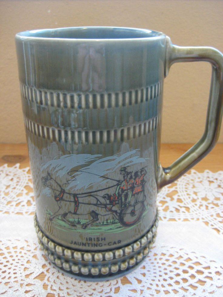 Large Irish Jaunting-Car Porcelain Beer Stein Mug, Made In ...  Irish Beer Mug