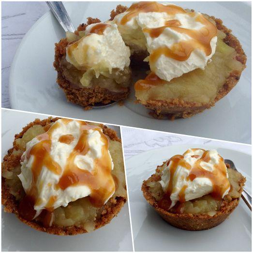 Nepečené jablečné muffiny se smetanovým krémem a karamelem