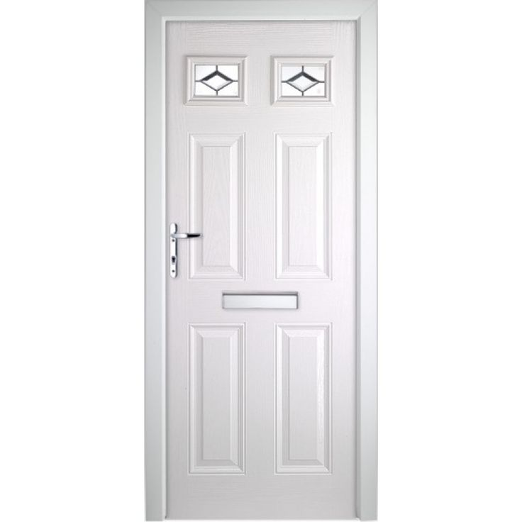 COLONIAL GLAZED TIMBER EFFECT COMPOSITE FRONT DOOR WHITE (2085MM X 920MM)