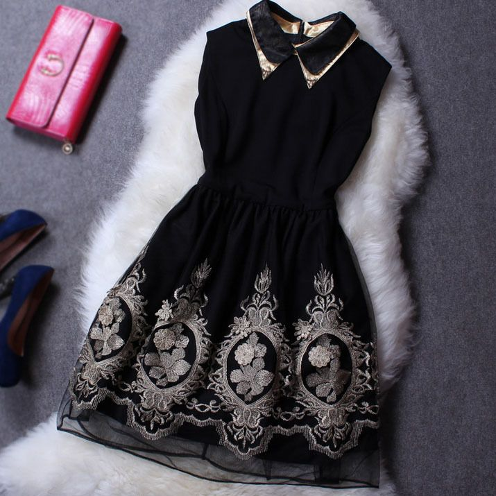 Free Shipping Ladies Dress Polyester Spandex Short Embroidered Sleeveless Tank Women Dress Female Formal Dresses for Lady $62.70