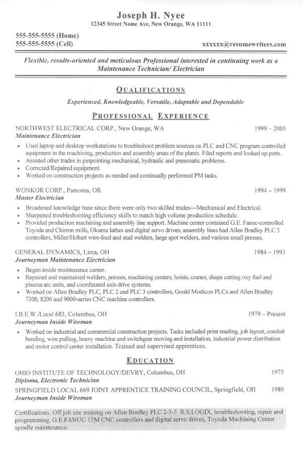Journeyman Electrician Resume Sample Monster Sample Resume For An Electrician Electrician Resume
