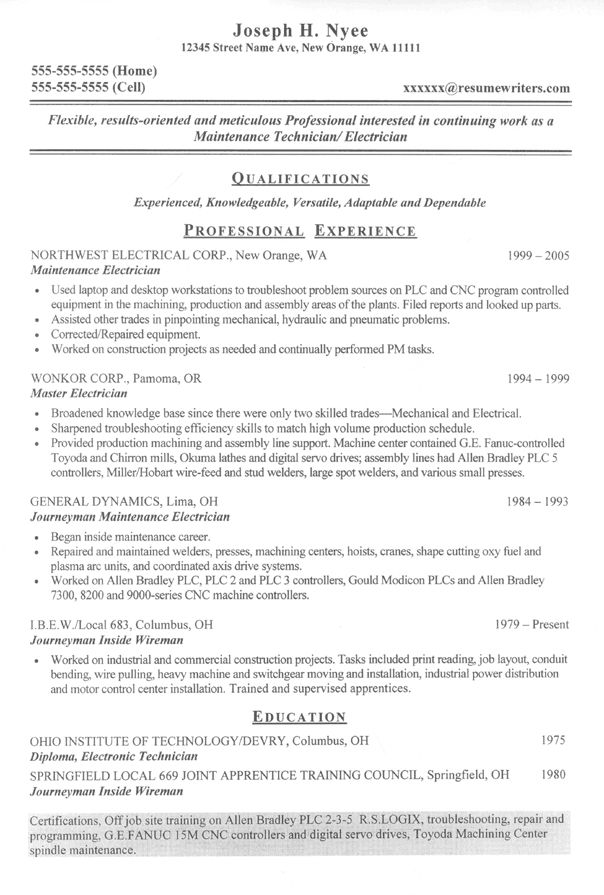 Military Resume Writers military resume writing services Sample Resume For An Electrician Electrician Resume Resumewriters