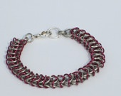 Queen's link chain maille bracelet in gorgeous pink and silver!