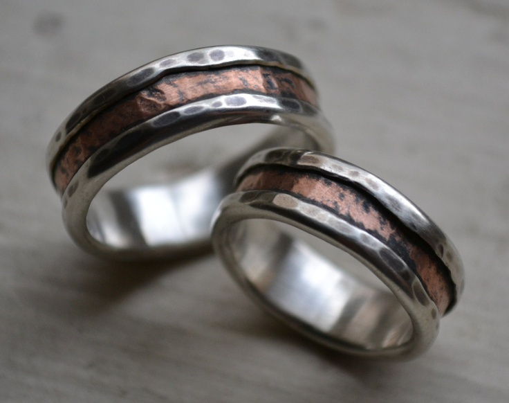 rustic silver and copper wedding ring set - handmade fine silver and copper wedding bands - rustic wedding bands - his and hers customized. $430.00, via Etsy.