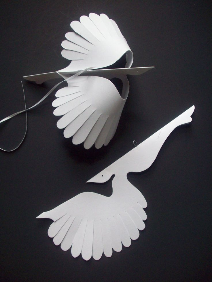 Paper BirdsSix White Flying Paper Birds by LorenzKraft on Etsy