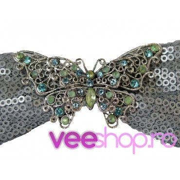 Papion handmade din paiete argintii cu fluture mare argintiu, cu cristale colorate