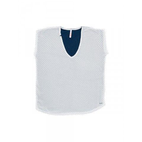 V neck t-shirt with double fabric SUN68 Woman SS15 #SUN68 #SS15 #woman #tsjirt
