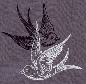 """""""Light and Shadow Swallows""""  Overlapping birds create a dynamic contrast.  -  UT5584 (Machine Embroidery)  00467512-053013-0647-3"""