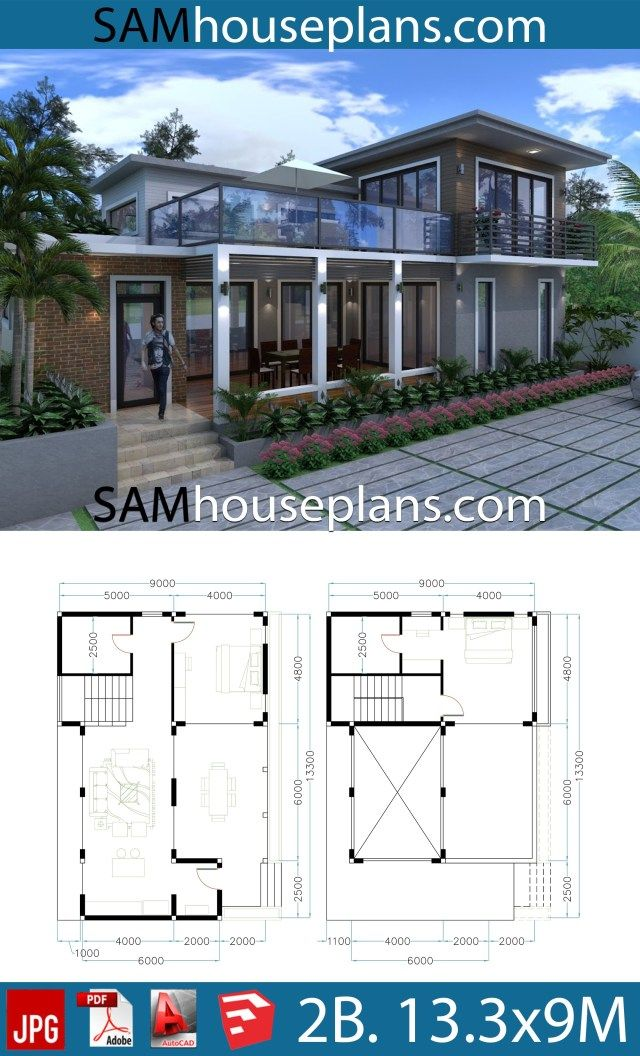 House Plans 13 3x9 With 2 Bedrooms Sam House Plans House Plans Bungalow Floor Plans Bedroom House Plans