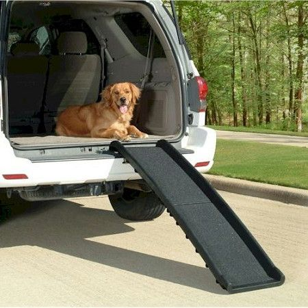 "Ultralite Bi-Fold Dog Ramp –The Ultralight Bi-Fold Dog Ramp is Solvit's most economical ramp. The Ultralight Pet Ramp is lightest full-size dog ramp on the market! Weighing in at a ""feather-light"" 10 lbs, the Bi-fold Dog Ramp still supports over 200 lbs. Its rugged, all-plastic construction and simple, folding design make it cinch to use. ""Like"" or ""Pin"" this and use discount code ""Pin5"" for 5% off."