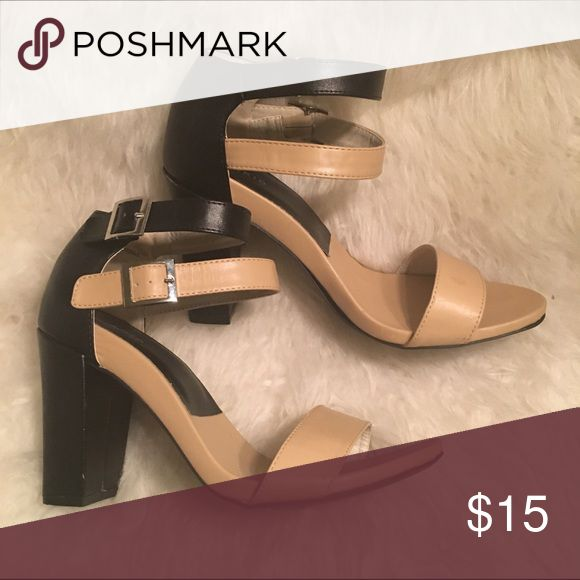 Chunky Color Block Heels Black and nude color block heels with super cute ankle strap.  Perfect for everything from the office to a night out.  Worn once, slight wear on heel, otherwise in great condition. torrid Shoes Heels