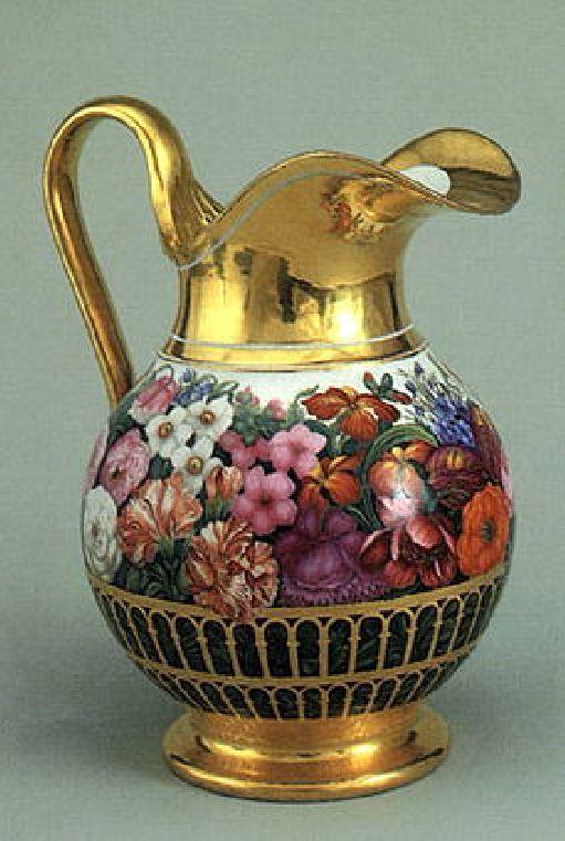 Pitcher porcelain overglaze painting, gilding Imperial porcelain factories in 1830.