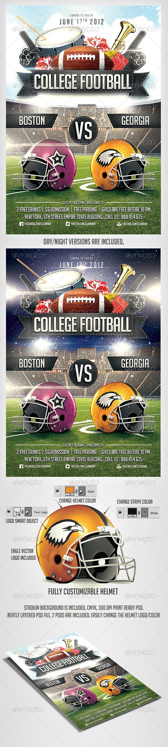 College Football Flyer Template  #flag #flyer #foot • Available here → http://graphicriver.net/item/college-football-flyer-template/2921123?s_rank=14&ref=pxcr