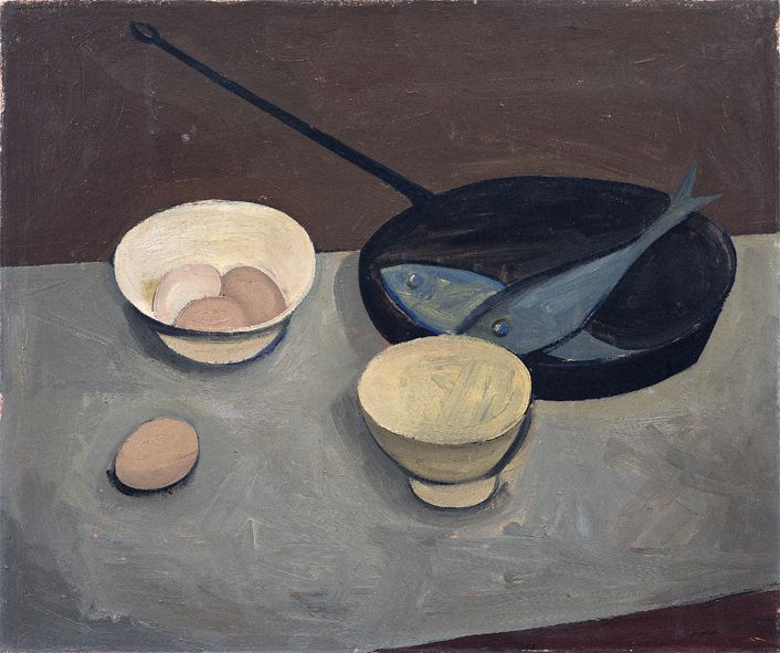 William Scott, Frying Pan and Blue Fish, 1947, Oil on canvas, 52.6 × 62.5 cm / 20¾ × 24½ in, Private collection