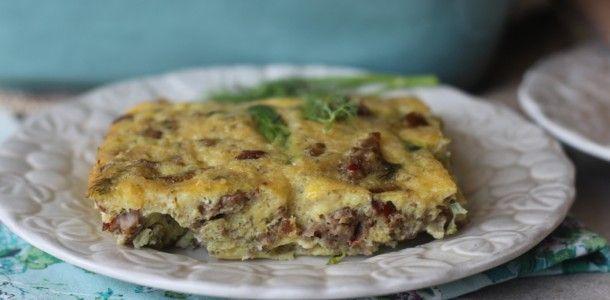 Sausage, Leek and Asparagus Dill Breakfast Casserole