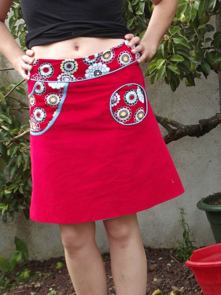 jupe trapèze poches rondes