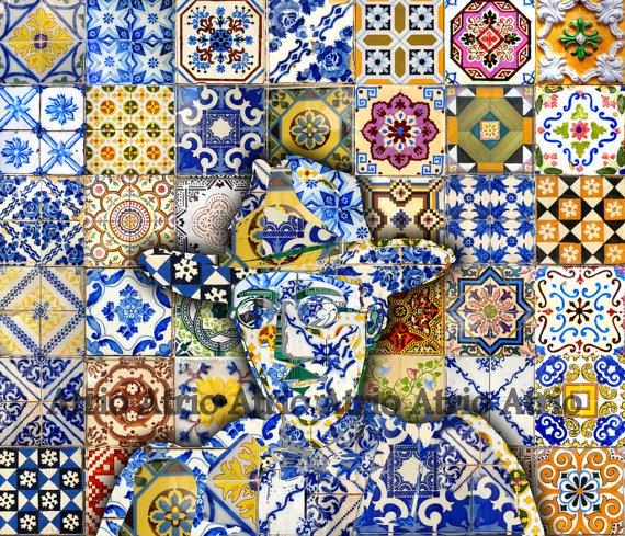 Portugal Antique  Azulejo Tile Replica Collage Print with FERNANDO PESSOA Colors of Portugal 8 x 10