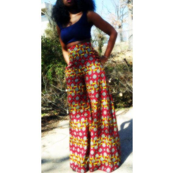 Jeans/Pantalons imprimés africains jambes larges par NigerianHippie