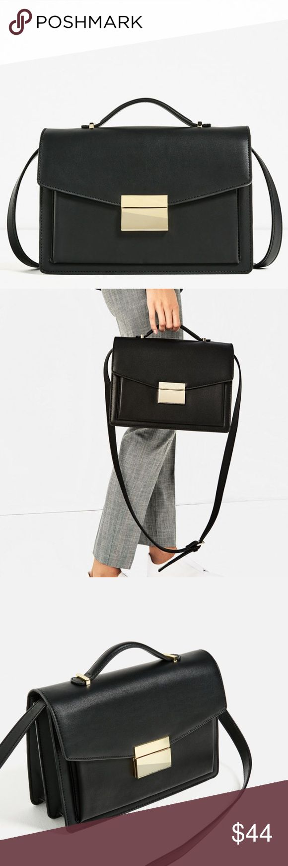 """Zara soft city bag NWT Black mini city bag. Outer pocket detail. Goldtone hardware. Detachable and adjustable shoulder strap and handle. Various lined inside compartments. Metallic closure on fold over flat. Height by width by depth: 7.4 x 11 x 3.9"""". Composition: outer 100% polyurethane. Lining 100% polyester. Filling 100% Ethylene vinyl acetate Zara Bags"""